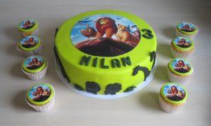Lion King taart en cupcakes
