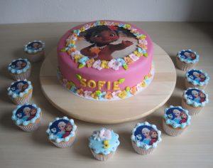 Vaiana taart en Frozen cupcakes